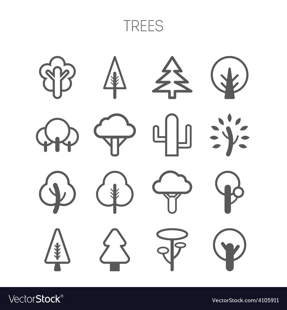 Set of simple monochromatic tree icons vector | Price: 1 Credit (USD $1)