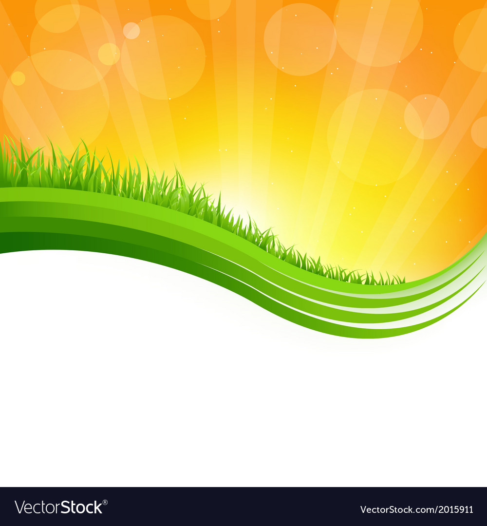 Shiny background with green grass vector | Price: 1 Credit (USD $1)