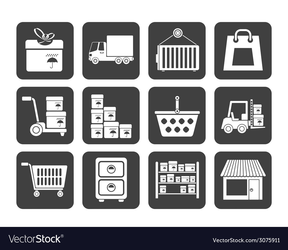 Silhouette cargo and shipping icons vector | Price: 1 Credit (USD $1)