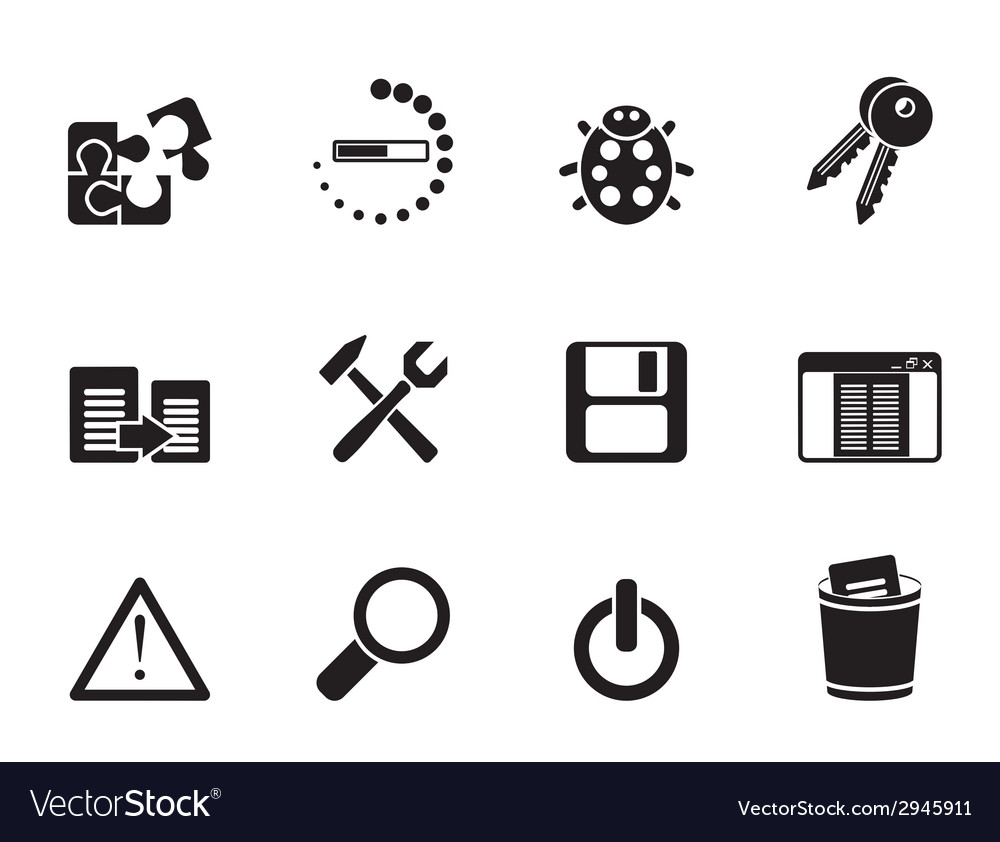 Silhouette programming and application icons vector | Price: 1 Credit (USD $1)