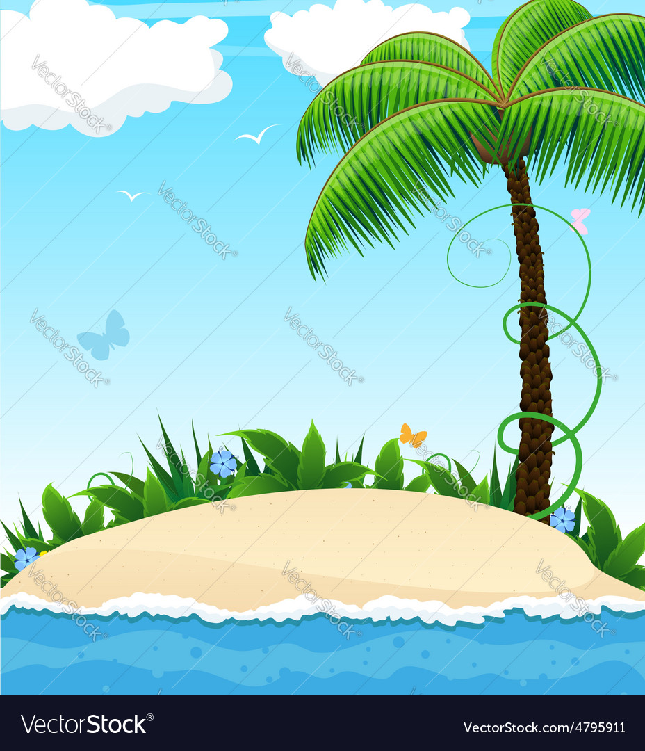 Small island with a palm tree vector | Price: 3 Credit (USD $3)