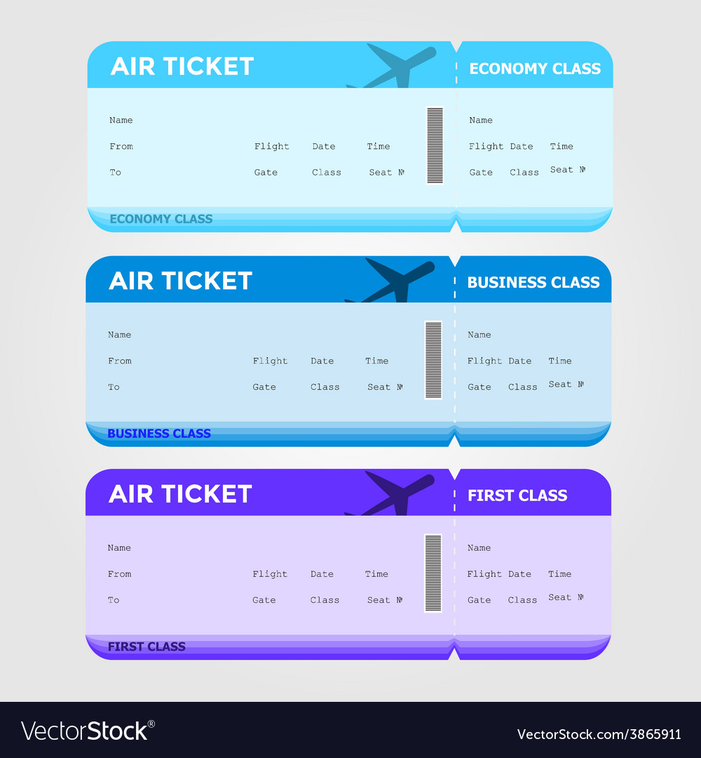 Three classes boarding pass blue tint vector | Price: 1 Credit (USD $1)