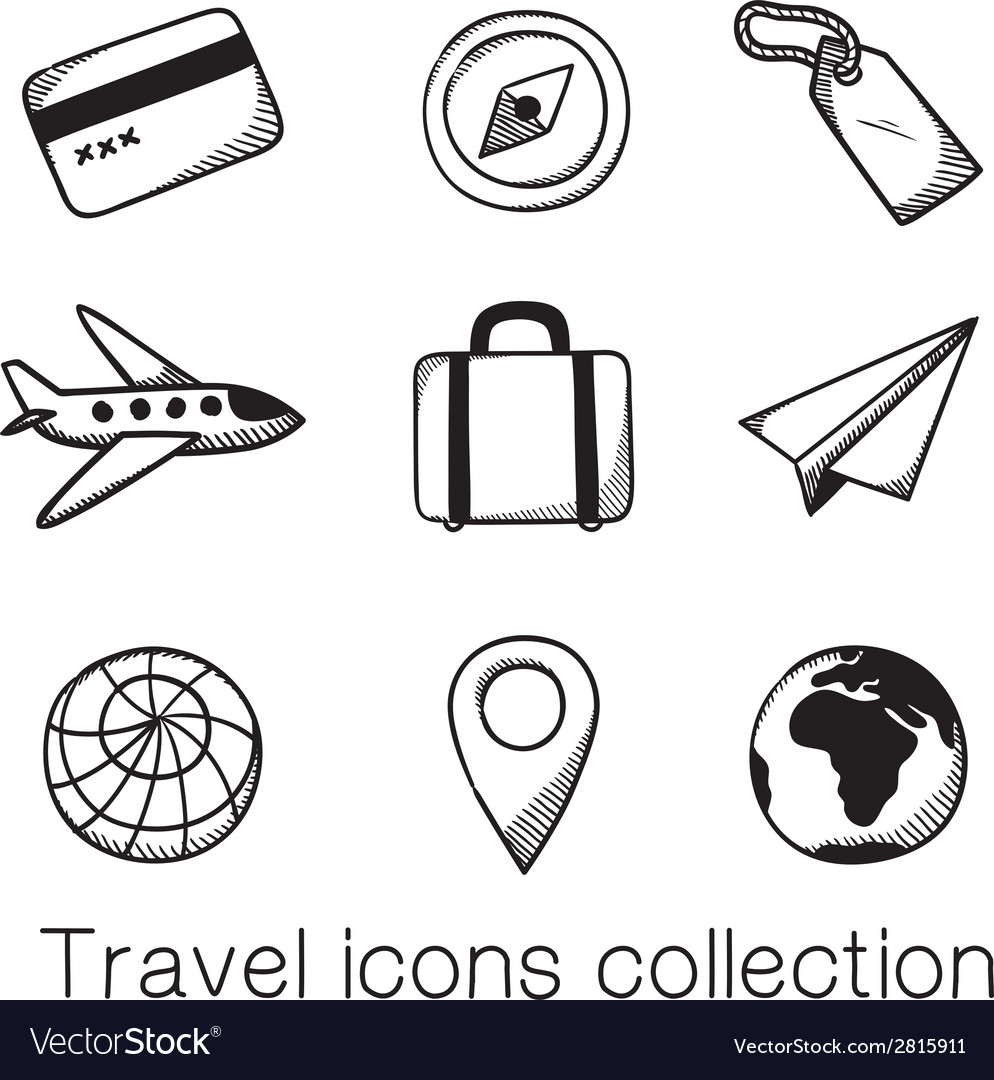 Travel icons collection vector | Price: 1 Credit (USD $1)