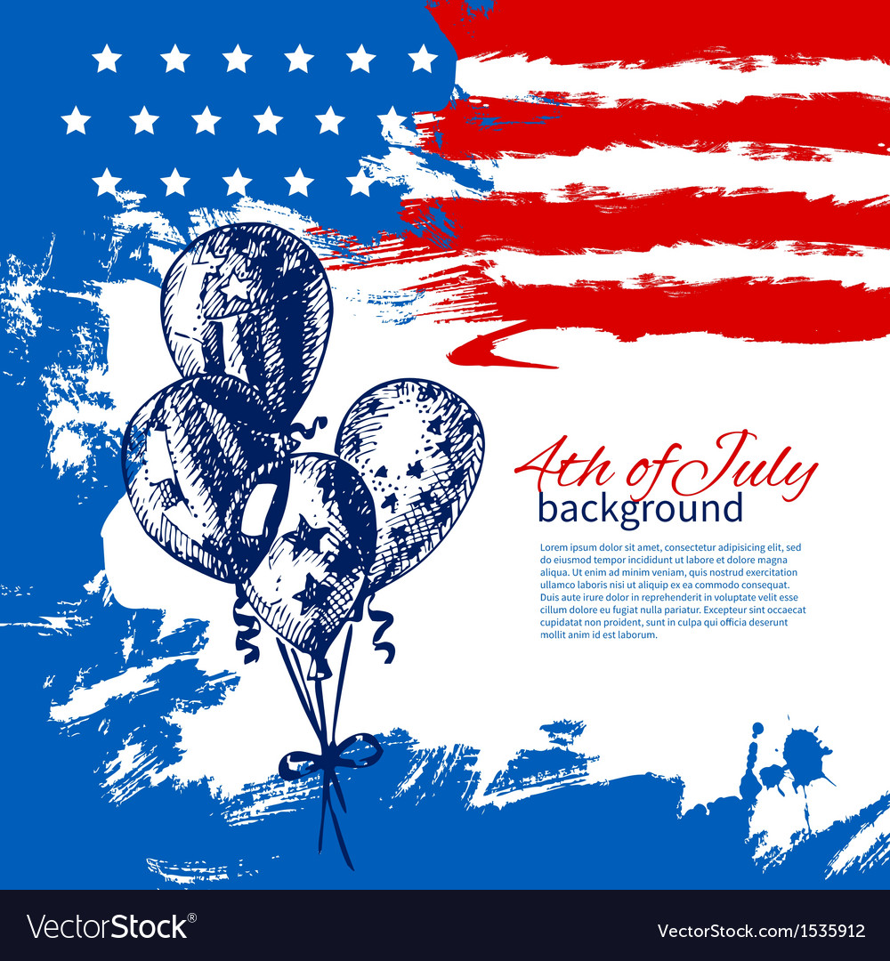 4th of july background with american flag vector   Price: 1 Credit (USD $1)