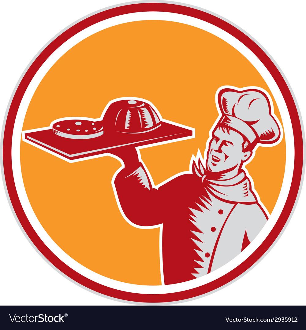 Baker tray food cake circle woodcut vector | Price: 1 Credit (USD $1)
