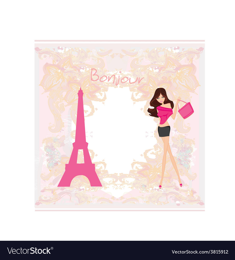 Beautiful women shopping in paris - card vector | Price: 1 Credit (USD $1)