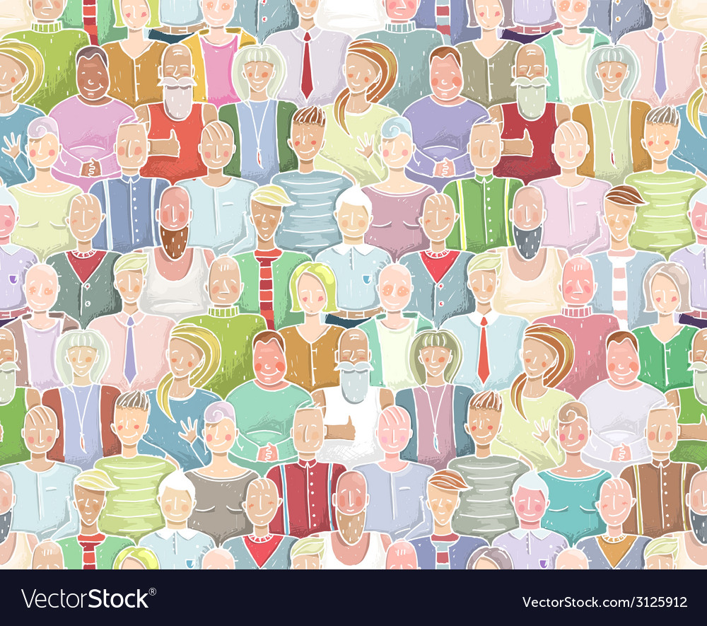 Colorful people background seamless pattern vector | Price: 1 Credit (USD $1)