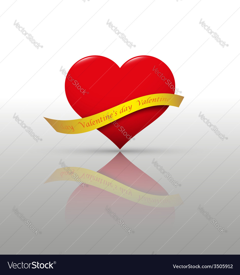 Heart and ribbon vector | Price: 1 Credit (USD $1)