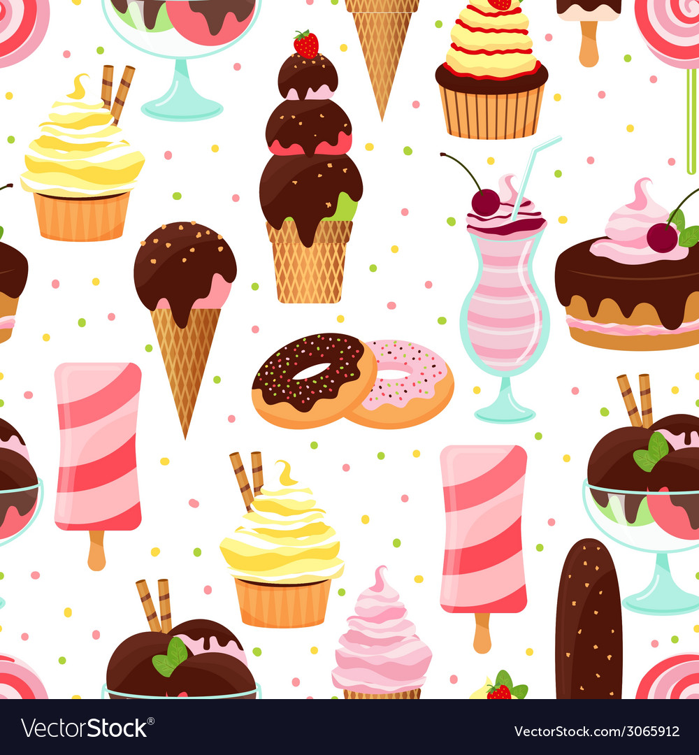 Ice cream and sweets seamless pattern vector | Price: 1 Credit (USD $1)
