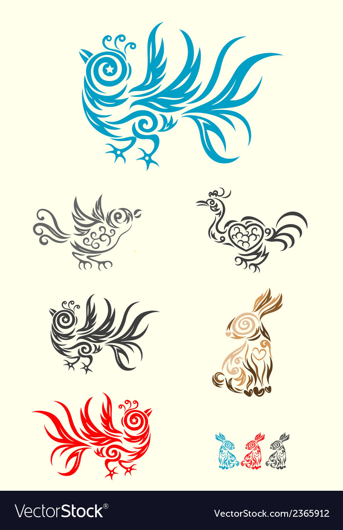 Rabbit and bird vector | Price: 1 Credit (USD $1)