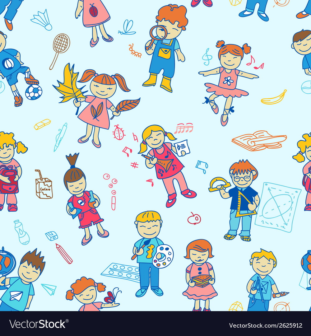 Seamless of back to school kids vector | Price: 1 Credit (USD $1)