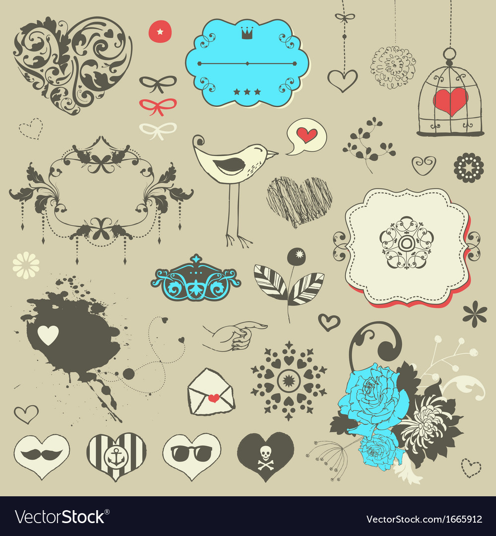 Set of hand drawn elements vector | Price: 1 Credit (USD $1)