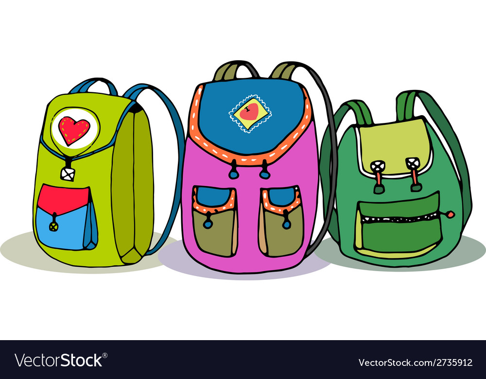 Three colorful children backpacks vector | Price: 1 Credit (USD $1)