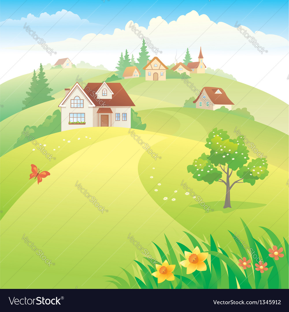 Village on the hills vector | Price: 3 Credit (USD $3)