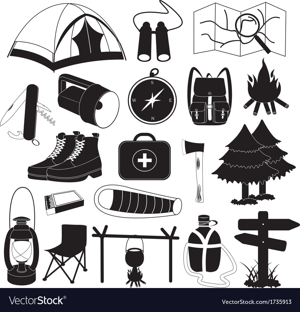 Camping icons collection vector | Price: 1 Credit (USD $1)