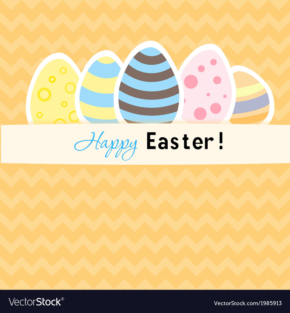 Easter orange card with five eggs vector | Price: 1 Credit (USD $1)
