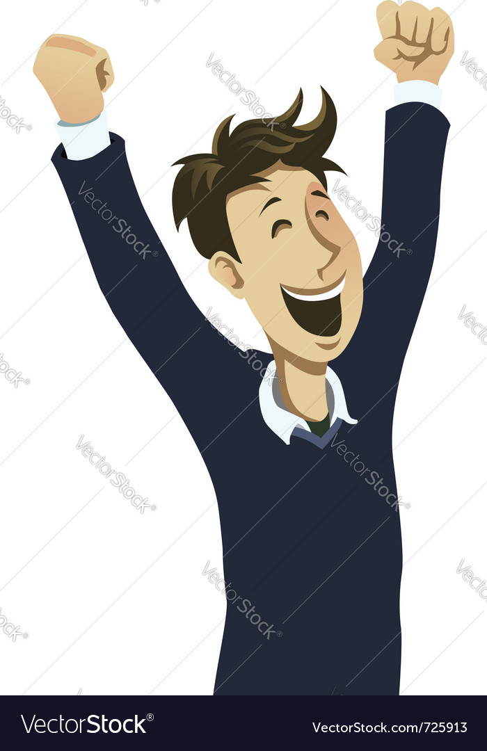 Happy guy cheering vector | Price: 1 Credit (USD $1)