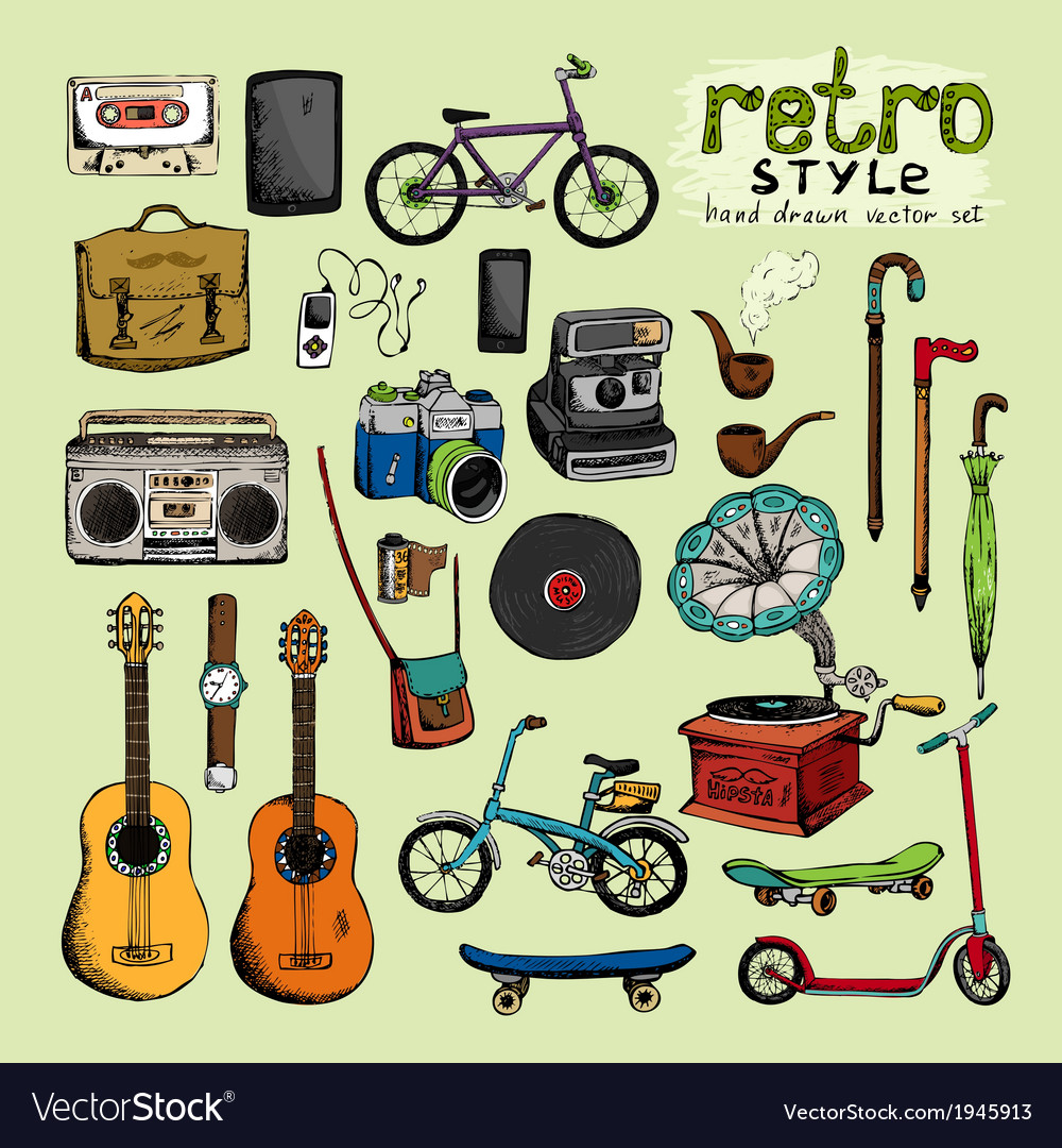 Hipster retro style objects vector | Price: 1 Credit (USD $1)