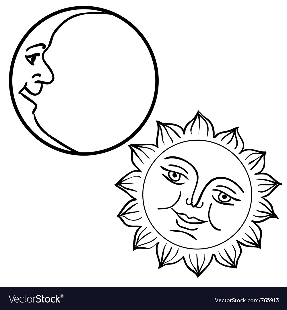 Moon and sun with faces vector | Price: 1 Credit (USD $1)