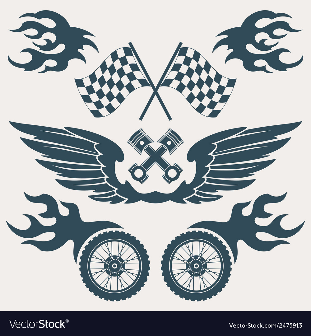 Motorcycle design elements vector