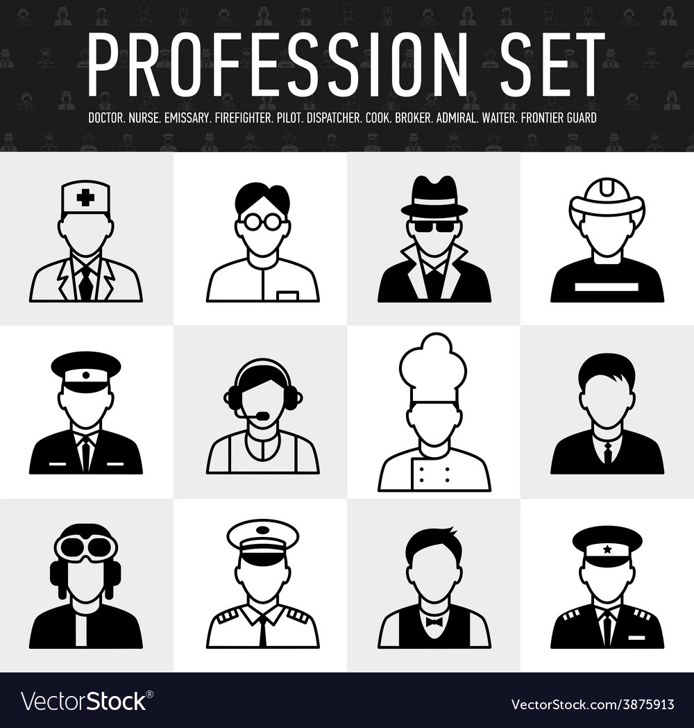 Occupation icons mono symbols vector | Price: 1 Credit (USD $1)