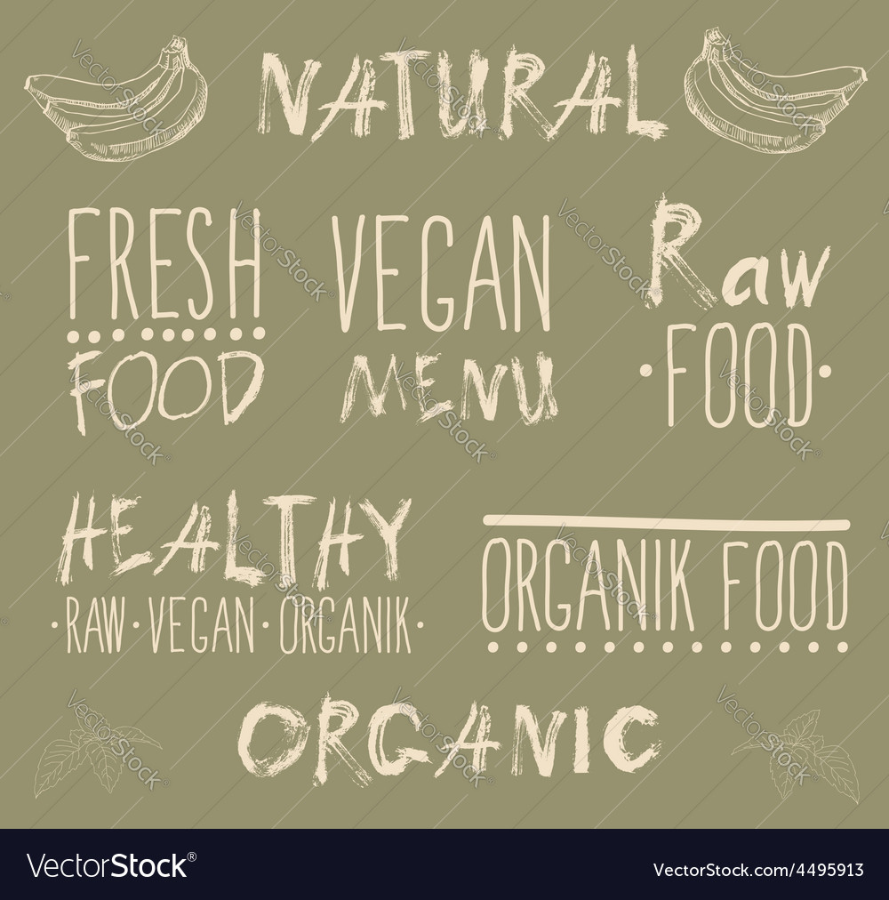 Raw vegan food calligraphy vector | Price: 1 Credit (USD $1)