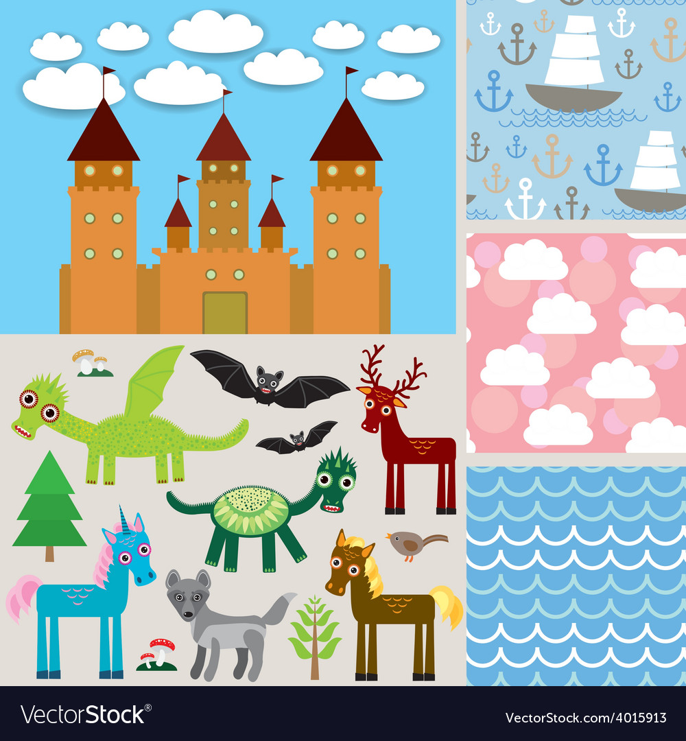 Set 3 seamless background castle fabulous animals vector | Price: 1 Credit (USD $1)