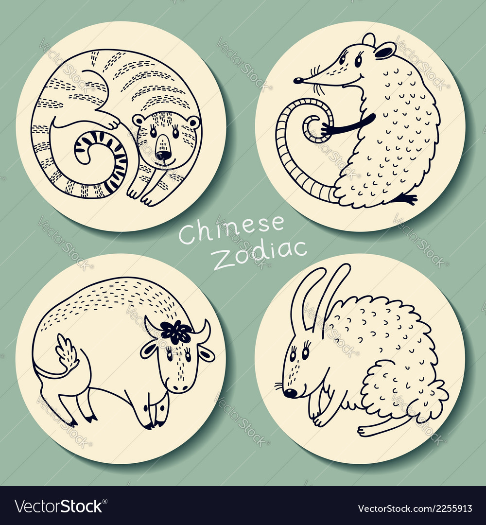 Set of the chinese zodiac signs vector | Price: 1 Credit (USD $1)