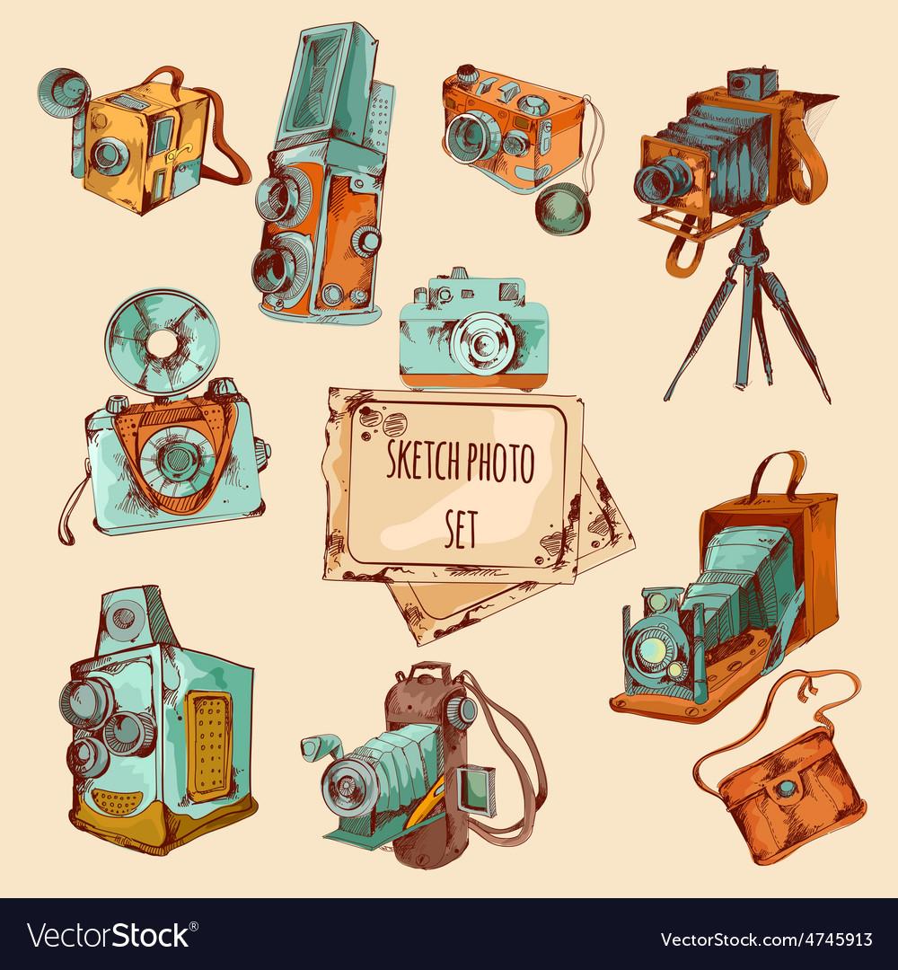 Sketch photo colored set vector | Price: 1 Credit (USD $1)
