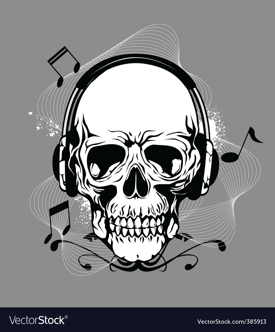 Skull with headphone vector | Price: 1 Credit (USD $1)