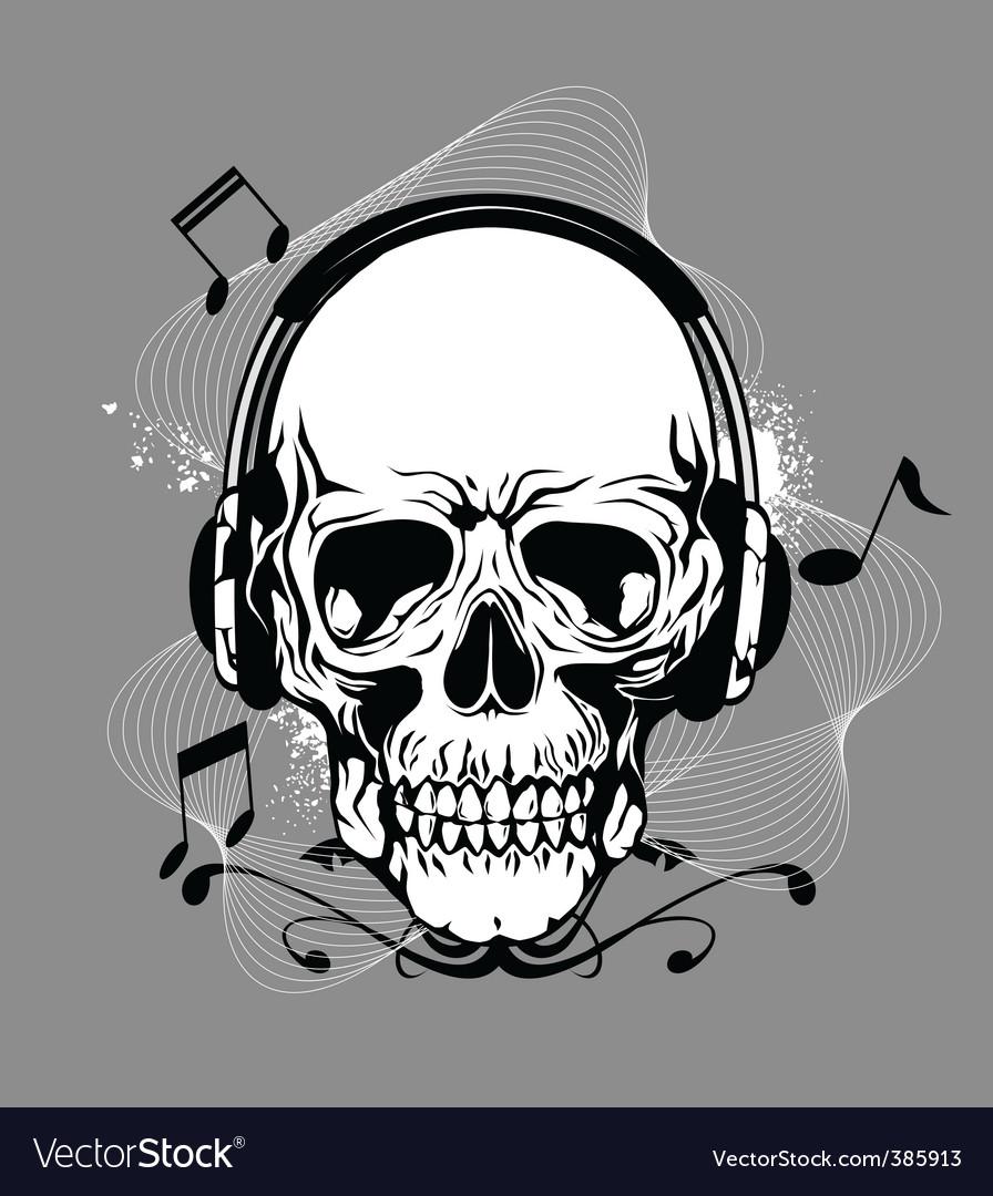Skull with headphone vector