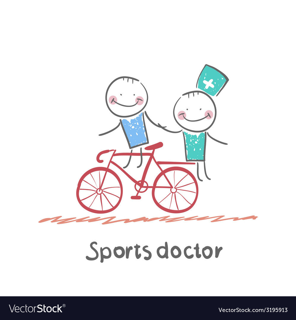 Sports doctor rides a bicycle with a patient vector | Price: 1 Credit (USD $1)