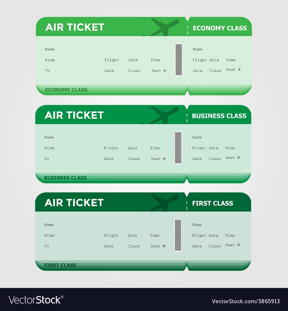 Three classes boarding pass green tint vector | Price: 1 Credit (USD $1)