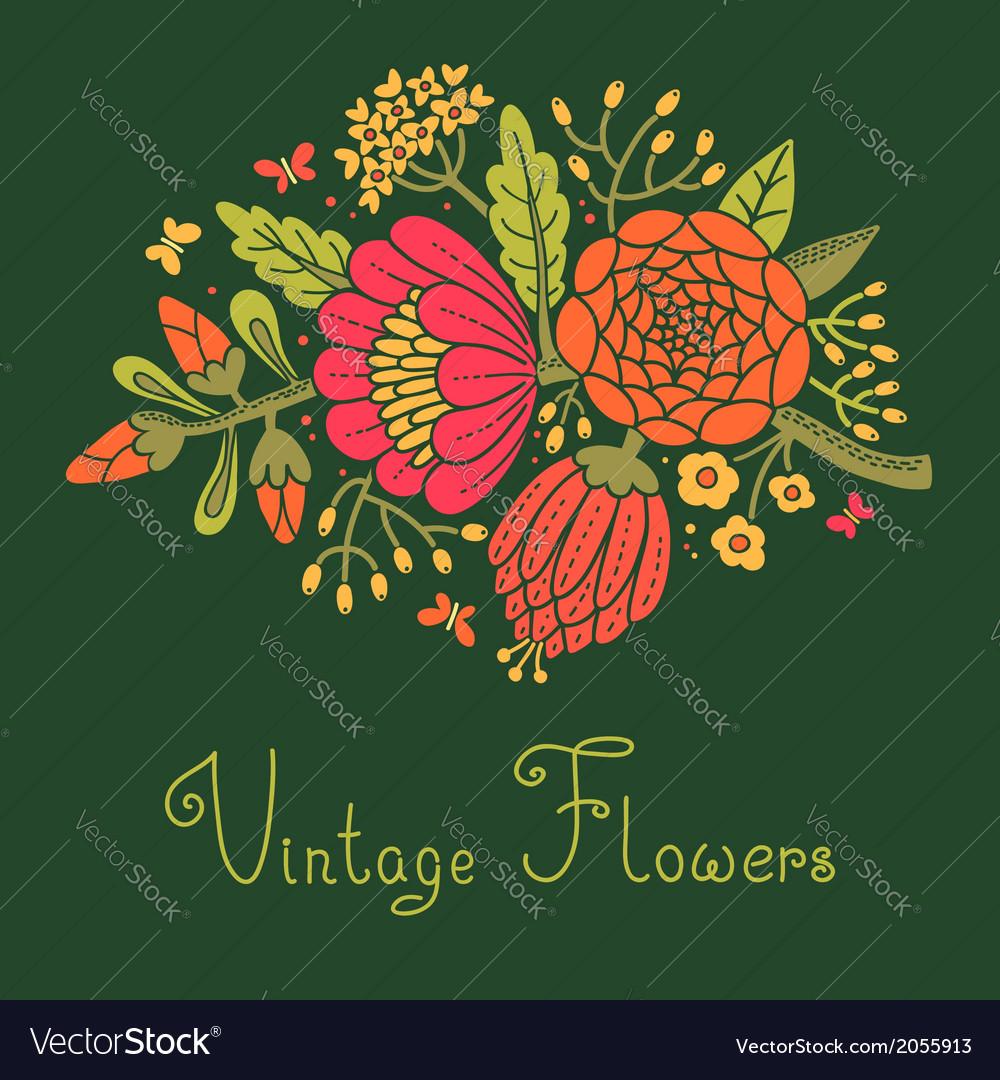 Vintage flowers cute flower for design vector   Price: 1 Credit (USD $1)
