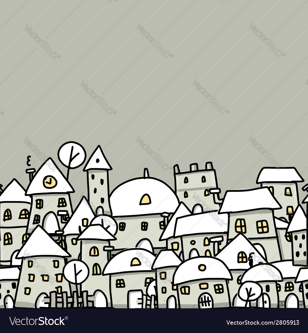 Winter city sketch seamless pattern for your vector | Price: 1 Credit (USD $1)