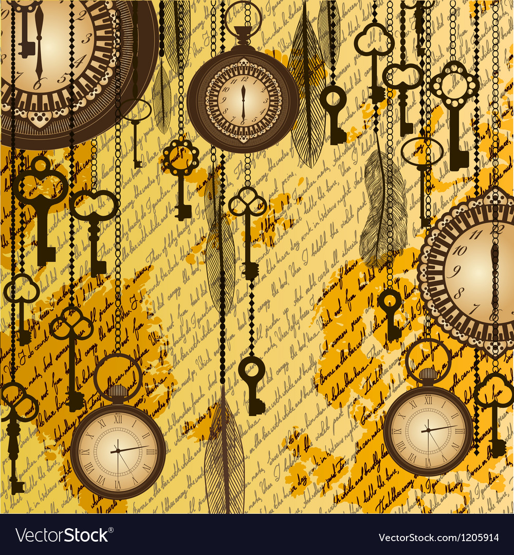 Antique background with manuscript and clocks vector | Price: 1 Credit (USD $1)