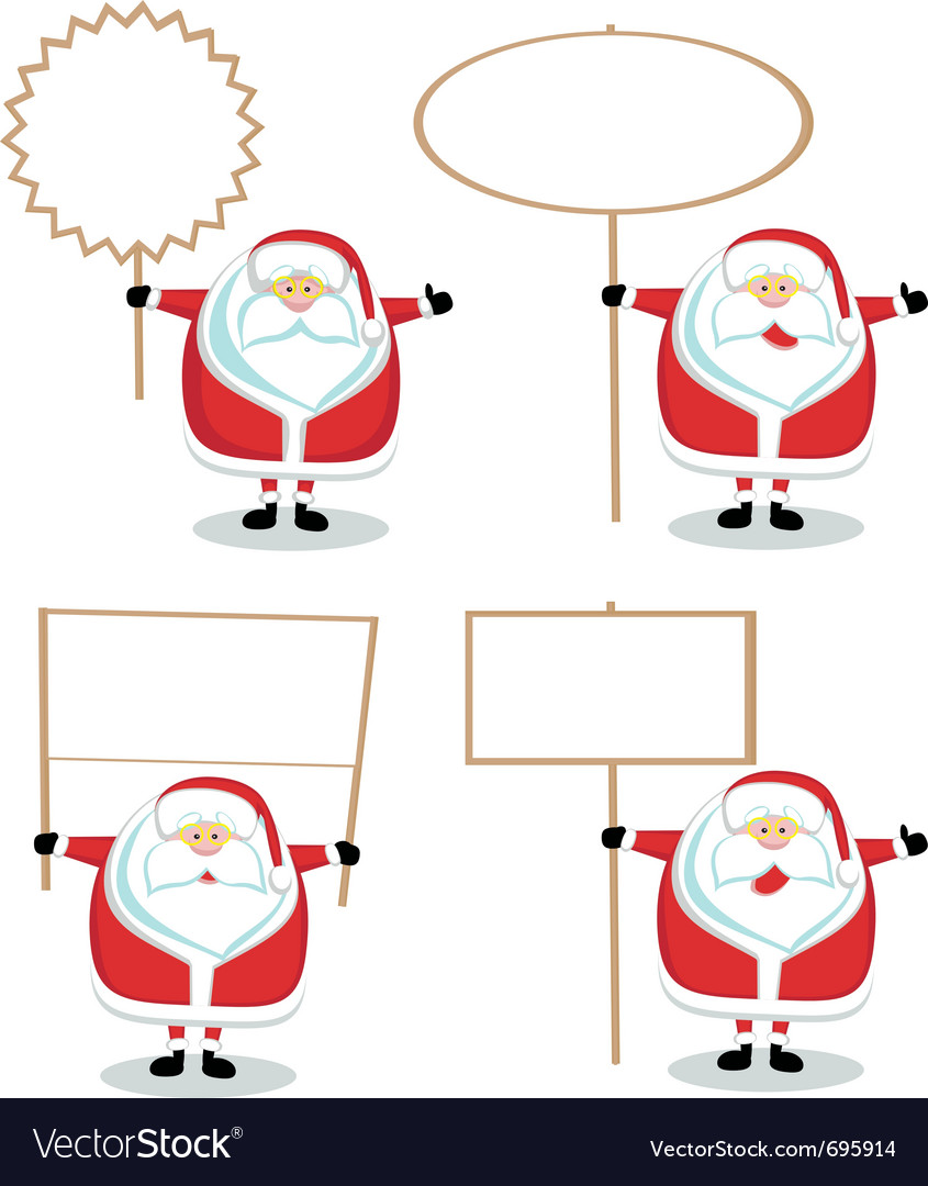 Cartoon santas holding blank signs vector | Price: 1 Credit (USD $1)