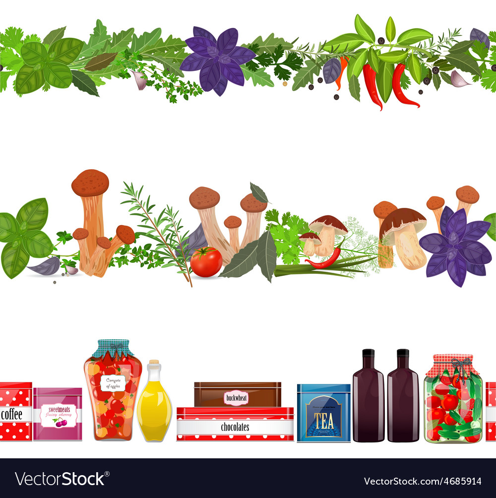 Collection seamless borders with food vegetables vector