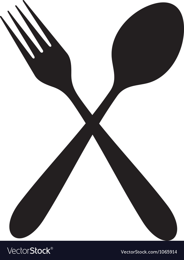 Crossed fork and spoon vector | Price: 1 Credit (USD $1)