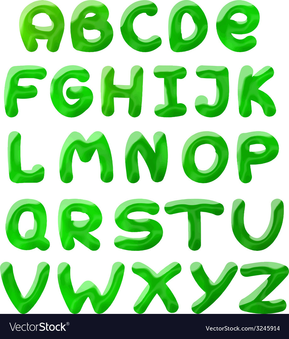 Green blots alphabet vector | Price: 1 Credit (USD $1)