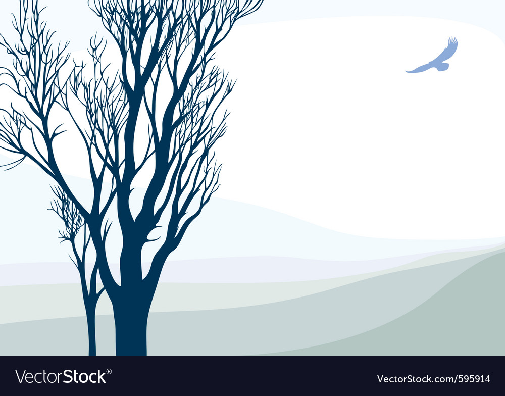 Landscape with flying eagle vector | Price: 1 Credit (USD $1)