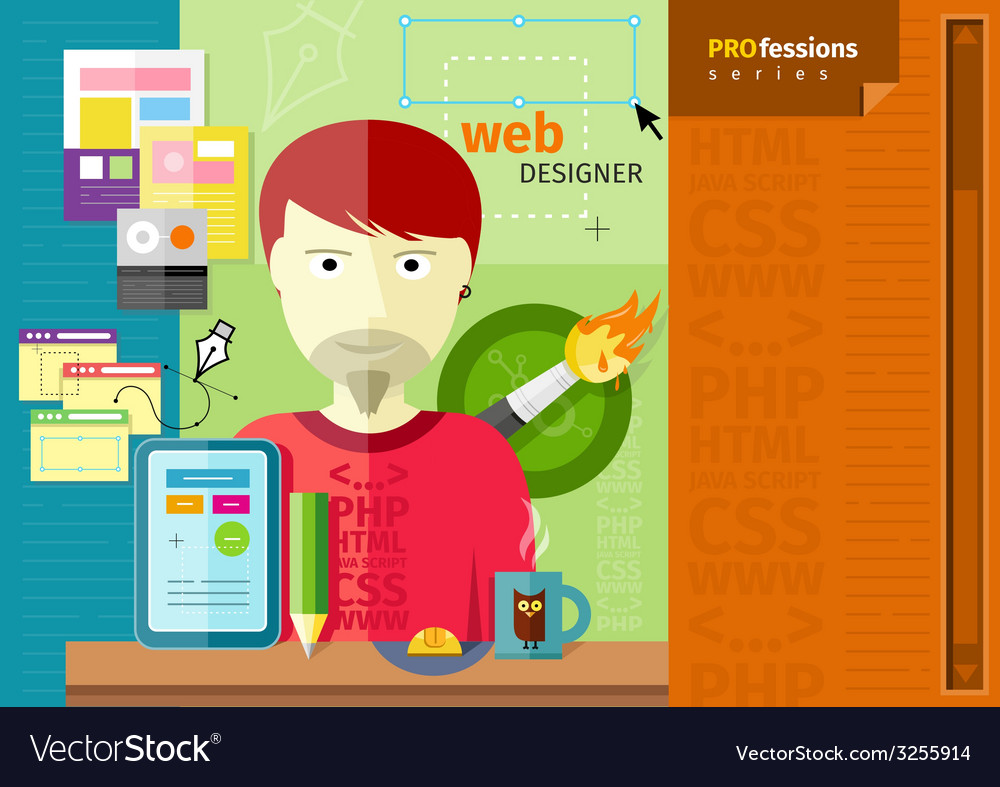 Male web designer with tablet on workplace vector | Price: 1 Credit (USD $1)