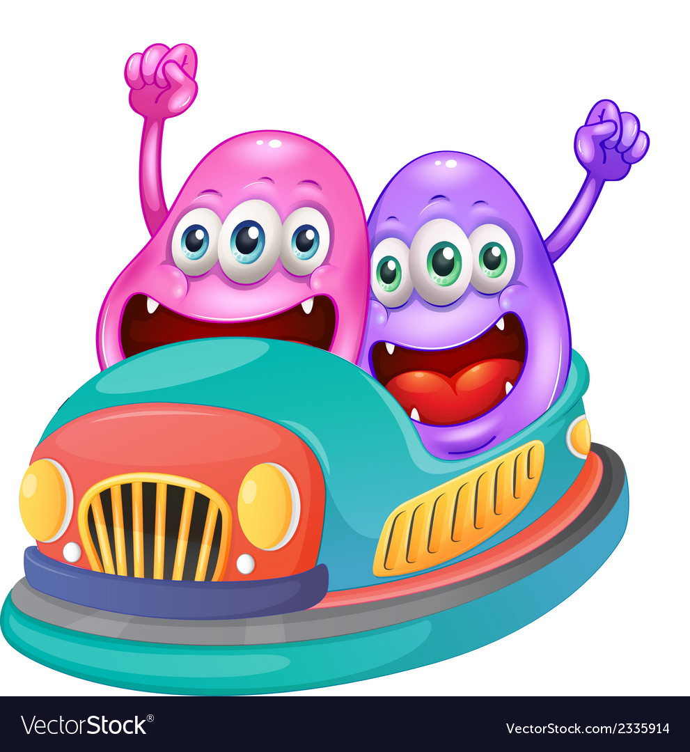 Monsters riding on a bumpcar vector | Price: 1 Credit (USD $1)