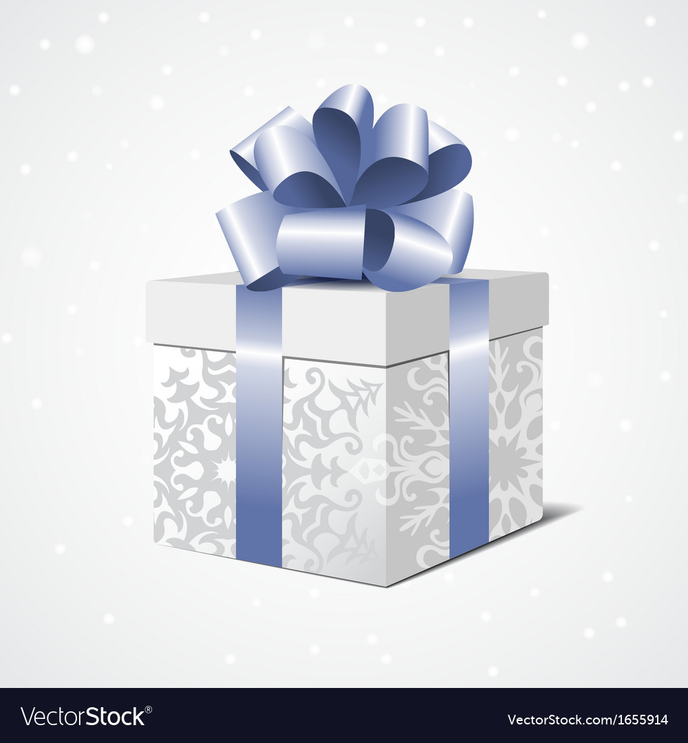 Silver gift box with a blue bow vector | Price: 1 Credit (USD $1)