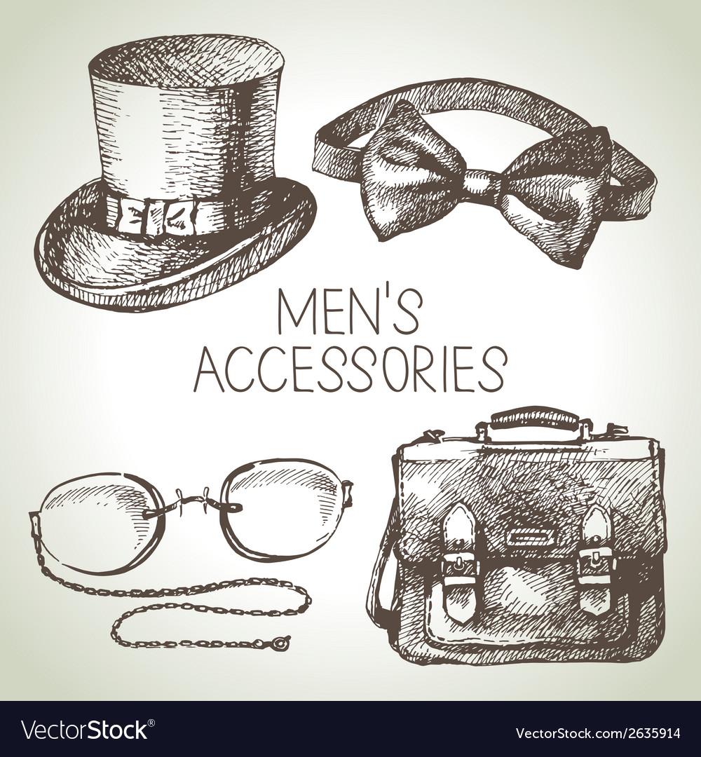 Sketch gentlemen accessories hand drawn men set vector | Price: 1 Credit (USD $1)