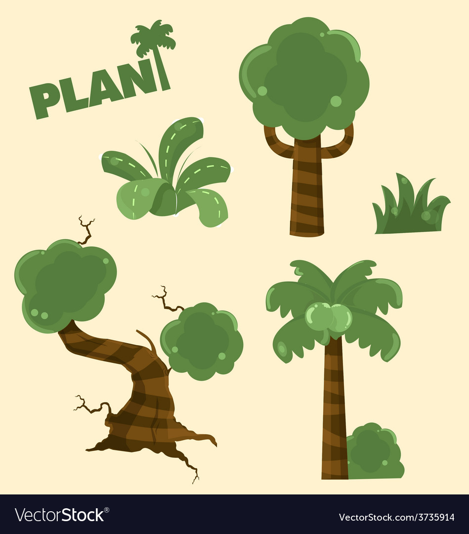 Wood plant cartoon vector | Price: 3 Credit (USD $3)