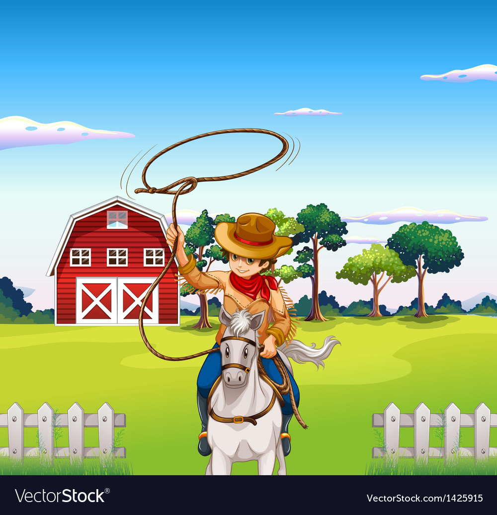 A young cowboy in the ranch vector | Price: 1 Credit (USD $1)