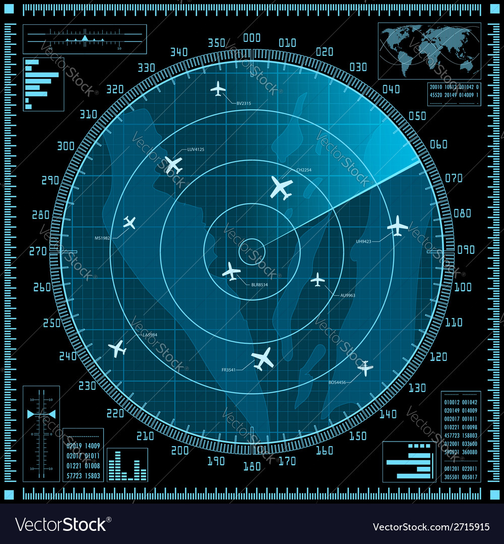 Blue radar screen with planes vector | Price: 1 Credit (USD $1)