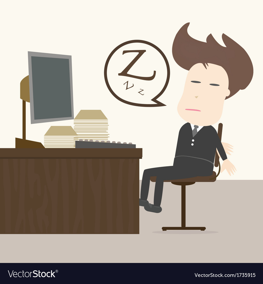 Businessman fall sleep at working place vector | Price: 1 Credit (USD $1)