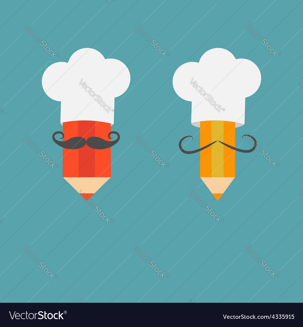 Chef hat mustache with pencil set menu card recipe vector | Price: 1 Credit (USD $1)
